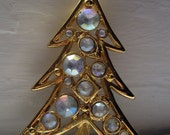 Whimsical Vintage Christmas Tree Pin with Pale Aurora Borealis Stones