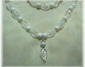 White Topaz and White Mtn Jade Necklace Bracelet Earring Set