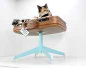 Upcycled Suitcase Pet Bed - Pedestal Base - Teal, Brown and Argyle - Mod