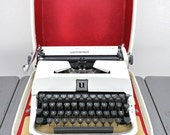 White Underwood Golden Touch Universal Typewriter with Carry Case-Mid Century