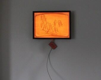 Reclaimed Barn Wood Vintage Fiberglass Light Box