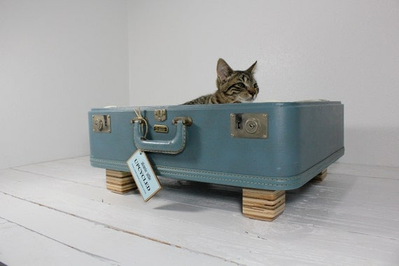Upcycled Suitcase Pet Bed in Blue