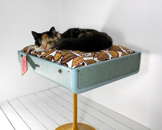 Upcycled Suitcase Pet Bed With Pedestal Base By Atomicattic
