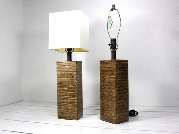 CUSTOM LISTING for Stephanie Set of Tall Modern Square Wood Table Lamp-Medium Walnut