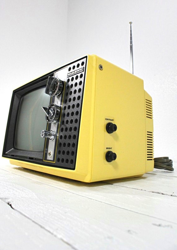 Canary Yellow Hitachi Vintage Working Television
