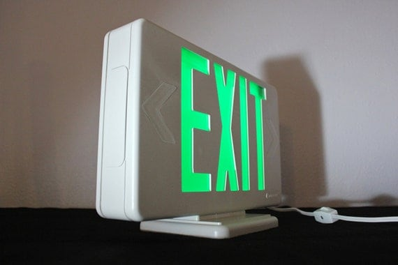 Green and White Exit Sign Light Box