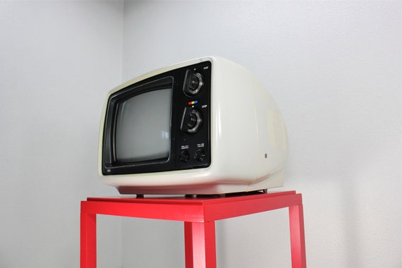 Retro White Sears Portable Color Television