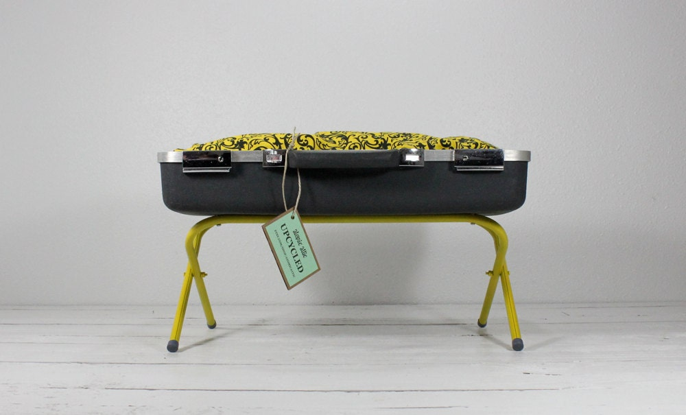 Dark Grey And Yellow Upcycled Vintage Suitcase Pet Bed