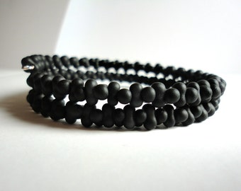 Gentleman's BLACK TWISTER Bracelet - Matte Black Czech Glass