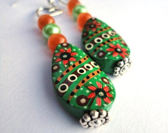 Green Gypsy Hand Painted Flower Earrings with Silver Heart - - Gorgeous