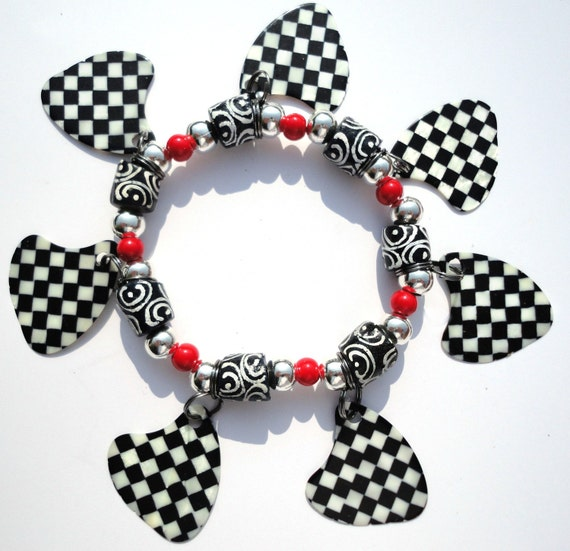 MISS CHUCK BERRY Black and White Check Guitar Pick Charm Bracelet - Rock On Retro!
