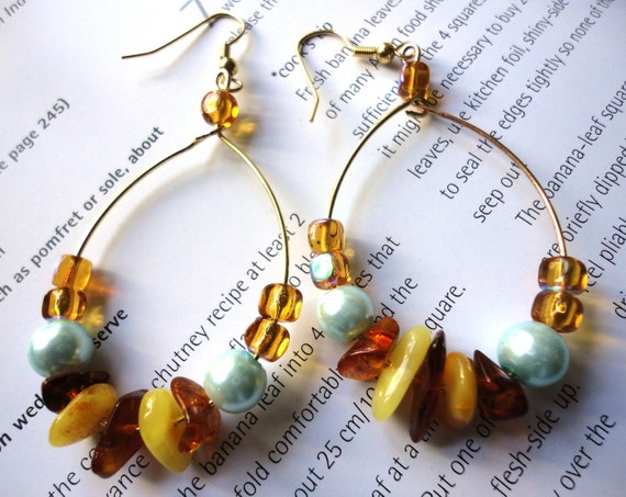 Cognac and Butterscotch Natural Baltic Amber and Baby Blue Pearl -Loop Teardrop Earrings