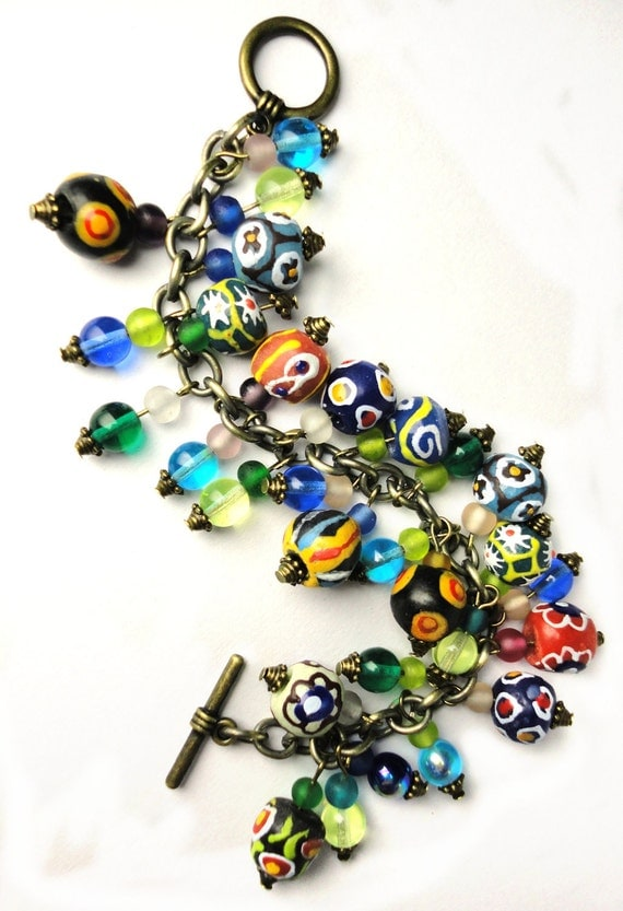 African Queen Charm Bracelet- Fully Loaded, Fabulous and Colorful