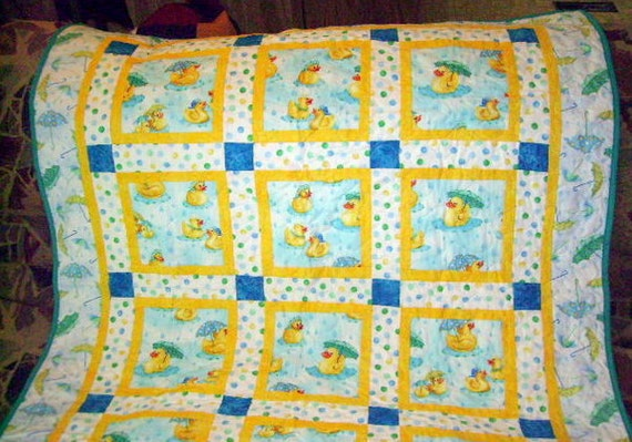 "Baby Quilt SALE Yellow Duckies in the Water and Umbrellas 50"" Square"