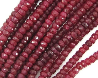 Faceted Ruby Red Jade Rondelle Beads A+ 1/2 strand