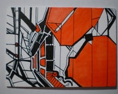 Aceo card Original art Orange Spill