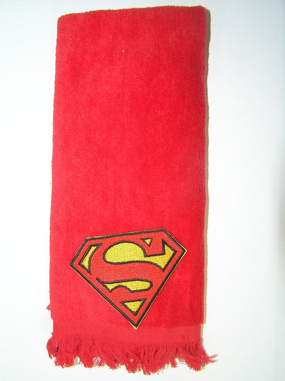 Superman hand bath towel red comics vintage applique
