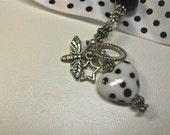 Black and White Handmade Lampwork Bead Bracelet 126