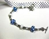 Blue and White Polka Dot Lampwork Bracelet 133
