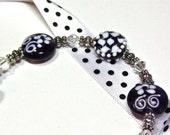 Handmade Lampwork Purple, White & Silver Bead Bracelet 135