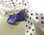 Fused Dichroic Blue & Purple Glass Earrings 147