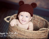 Custom Crochet Baby Bear Hat (Size 0-12 months) - You pick size and color