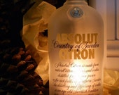 Absolut Citron Vodka Bottle Candle Holder Hurricane Lamp Centerpiece