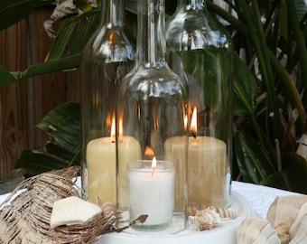 Wedding centerpiece White Triple Wine Bottle Candle Holder Hurricane Lamp
