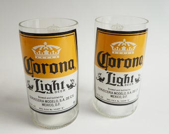 Beer Bottle Drinking Glasses Corona Light Tumblers Set Of 2