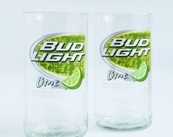 Beer Bottle Drinking Glasses Bud Light Lime Tumblers Set Of 2