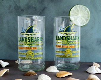 Beer Bottle Drinking Glasses Landshark Tumblers Set Of 2