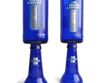 Beer Bottle Wine Glasses Blue Bud Light Platinum Goblets Candle Holders Set Of 2