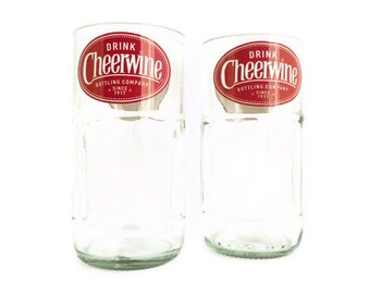 Cheerwine Soda Bottle Drinking Glasses Tumblers