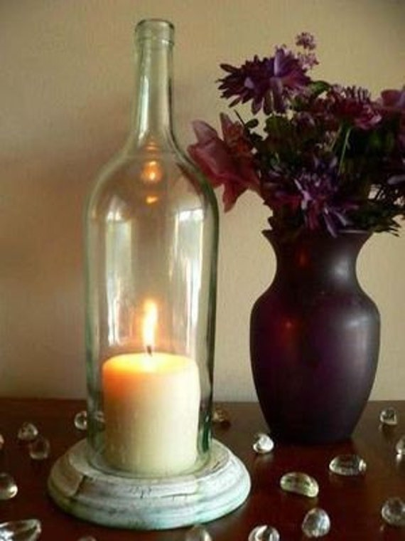 Clear wine bottle candle holder hurricane lamp centerpiece for Clear wine bottle centerpieces