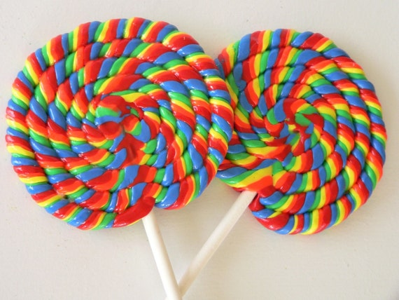 2 Big Rainbow Swirl Clay Lollipops