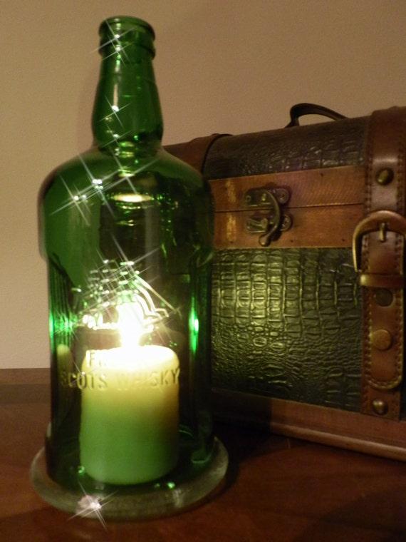 Green Whiskey Bottle Hurricane Candle Holder