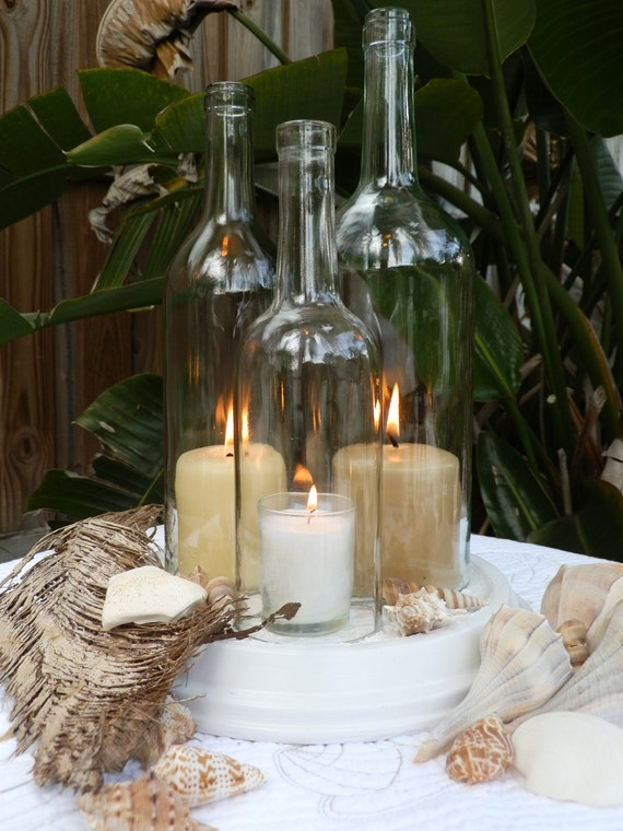 Wedding centerpiece white triple wine bottle candle holder for How to make candle holders out of wine bottles