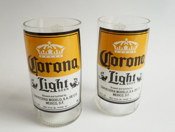 Beer Bottle Drinking Glasses Corona Light Tumblers Set Of 2