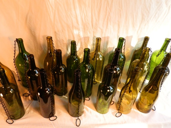 RESERVED for My'Ly Wine Bottle Hurricane Lantern Hanging