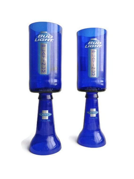 Beer Bottle Wine Glasses Blue Bud Light Platinum Goblets Candle Holders Set Of 2