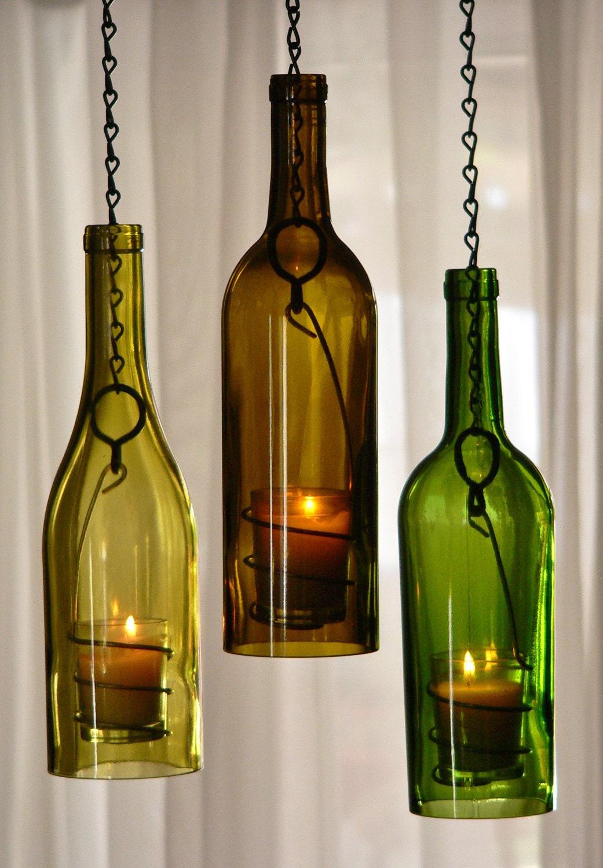Three Glass Wine Bottle Hanging Hurricane Lanterns Green Olive