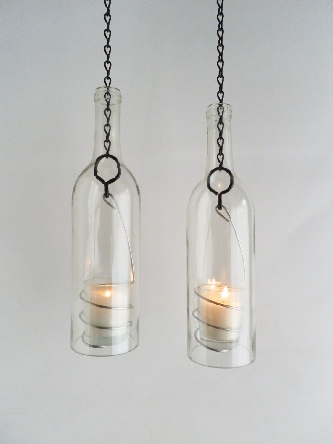 Wine bottle candle holder hanging hurricane lanterns by for Champagne bottle candle holders