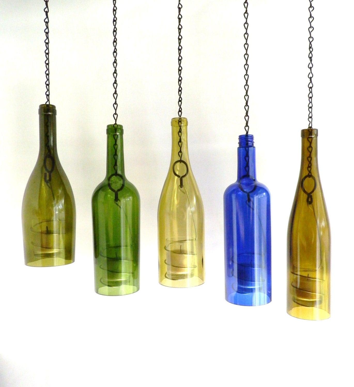 Wine Bottle Candle Holder Hanging Hurricane Lanterns Set Of 5