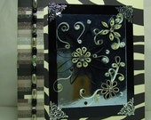 zebra pattern with black and white quilled flowers greeting card