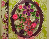purple,pink and green floral card
