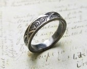 Engraved Silver Ring with Waves and Arches, Sterling Silver Band, Men's, Unisex, Wedding, Groom's Ring... 5mm - 7mm