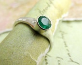 Emerald Ring, 5mm Natural Gemstone in Sterling Silver Ring for Wedding Band or Birthstone