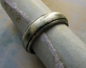 CUSTOM ORDER * Reserved for Michael * Rustic 10k White Gold Wedding Band, Comfort Fit, Handmade, Engraved, Oxidized Antique Patina... 7x2mm