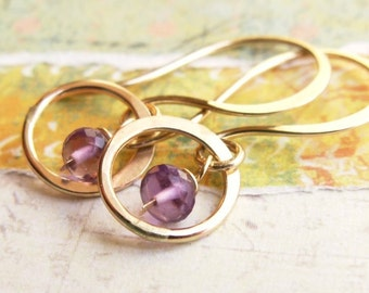 Petite AAA Amethyst and 14k Gold Hoop Earrings, Handmade by James Christian