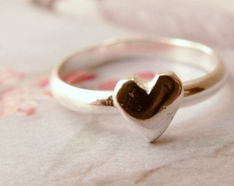 Handmade Heart stacking Ring in 14k White Gold, by James Christian